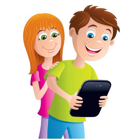 Kid Looking At Digital Tablet
