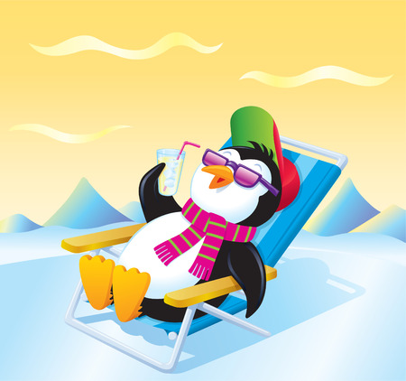 Penguin Relaxing with an Iced Drink Illustration