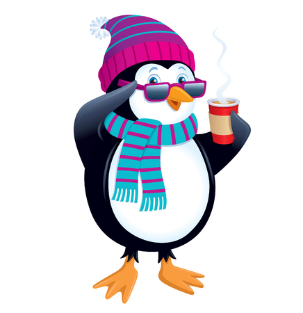 Penguin with Hot Drink and Sunglasses
