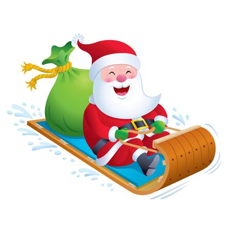 toboggan: Santa Riding Wooden Toboggan Snow Sled