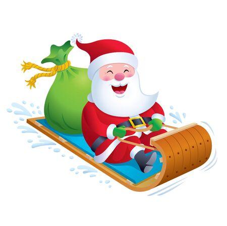Santa Riding Wooden Toboggan Snow Sled
