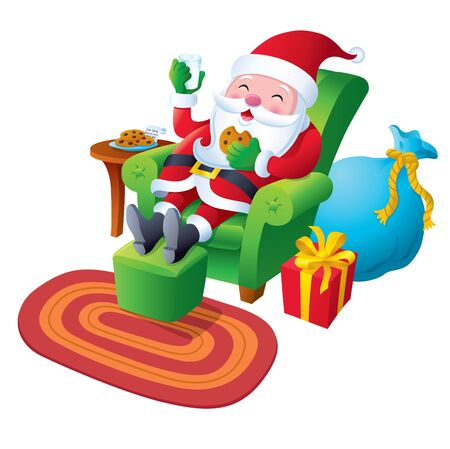 Santa Relaxing with a Cookie and Milk