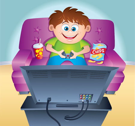 video game: Kid Playing Video Game On the Couch Illustration