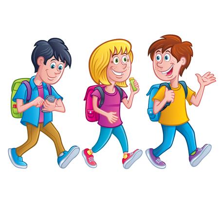 Kids Walking with Backpacks Illustration