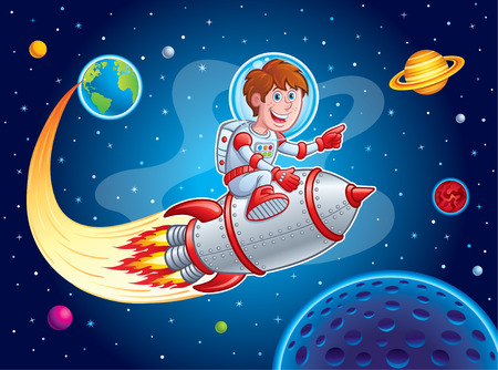 Rocket Boy Blasting from Earth to Outer Space