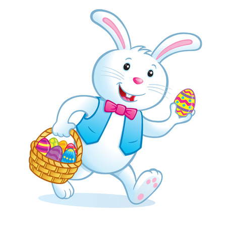 Bunny Carrying Easter Basket with Eggs Stock Vector - 55157794