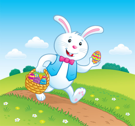walking trail: Bunny On Trail with Easter Basket of Eggs