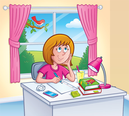 Girl Doing Homework In Her Room
