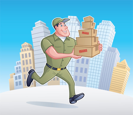 Delivery Man Running with Packages