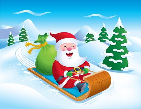 Santa Riding Toboggan Down the Slopes