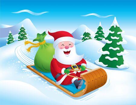 toboggan: Santa Riding Toboggan Down the Slopes