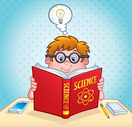 Smart Kid Reading A Science Book Illustration