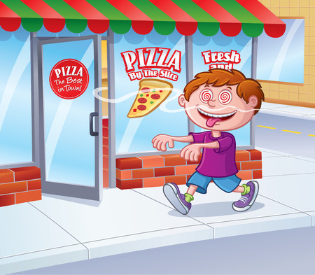 Kid In A Trance Following Pizza Smell