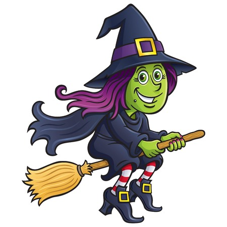 Girl Witch Riding A Broom Stock Illustratie