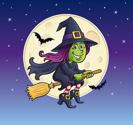 Girl Witch Riding Broom with Moon in Background