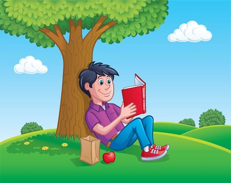 Teen Boy Reading Book Under A Tree Illustration