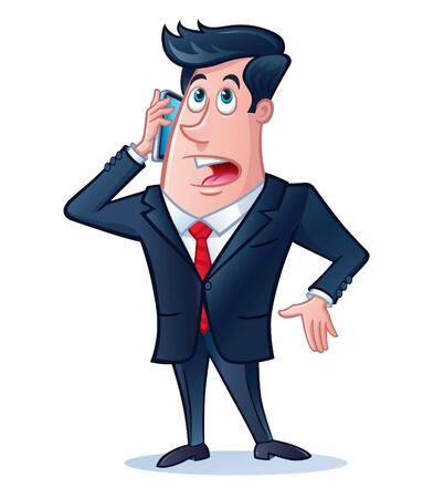 Business Man Talking On His Cell Phone Stock Vector - 60897679
