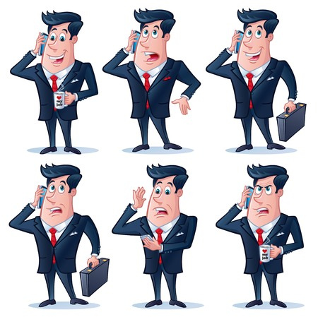 Business Man with Cell Phone Poses Illustration