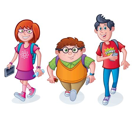 Nerdy School Kids Walking with Backpacks Illustration