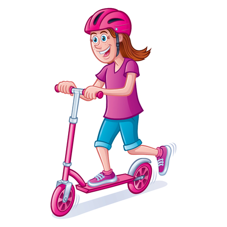 Girl Riding Scooter with Helmet Illustration