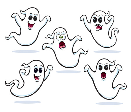 Five Flying Ghost Characters 矢量图像