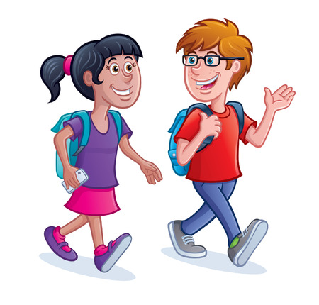 School Kids Walking with Backpacks