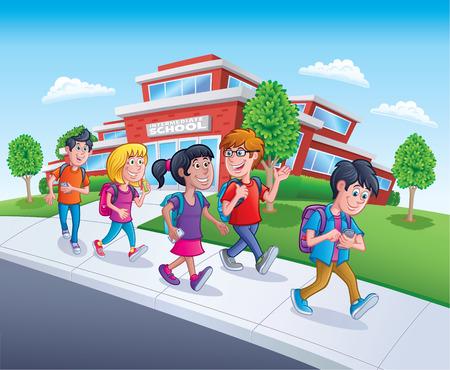 School Kids Walking From School