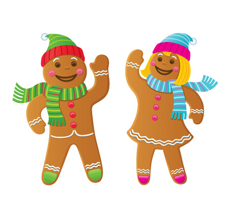 Gingerbread Boy and Girl Waving Stock Vector - 67103093