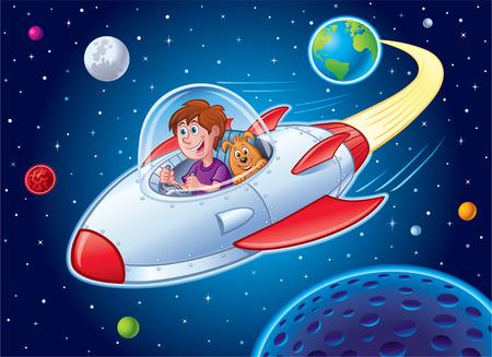 Boy with Dog In Spaceship 矢量图像