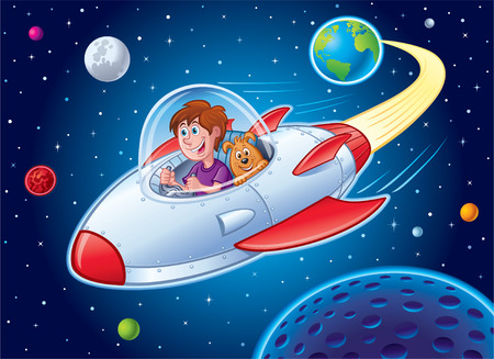 Boy with Dog In Spaceship Illustration