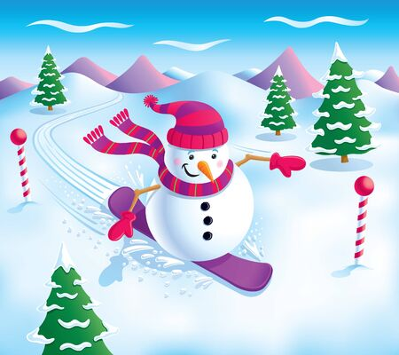Snowman Snowboarding On The Slopes