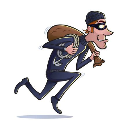 Thief Running with Bag of Loot Stock Vector - 69805891