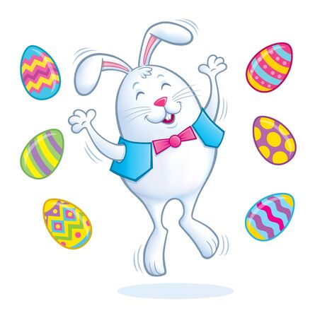 Easter Bunny Jumping for Joy Illustration