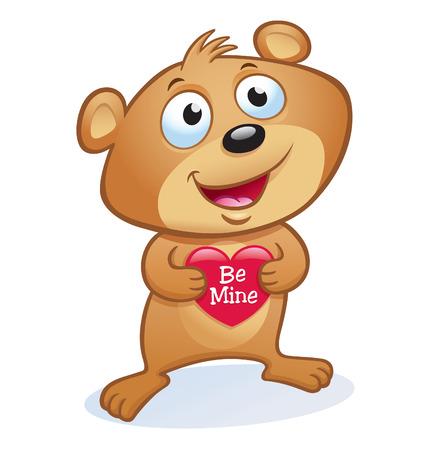 Cute Valentine's Day Bear 矢量图像