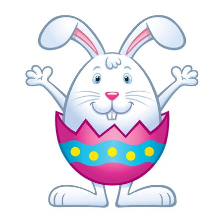 Bunny In Cracked Easter Egg Illustration