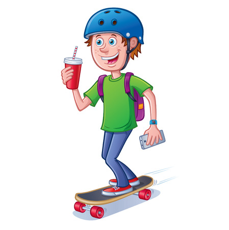 Teen Skateboarder with Backpack