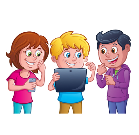 Kids Using Electronic Tablet 矢量图像