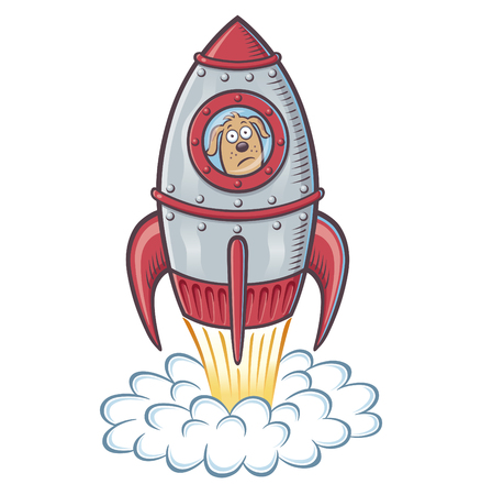 Blast Off Dog Illustration