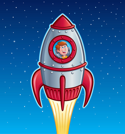 Rocket Ship Boy Illustration