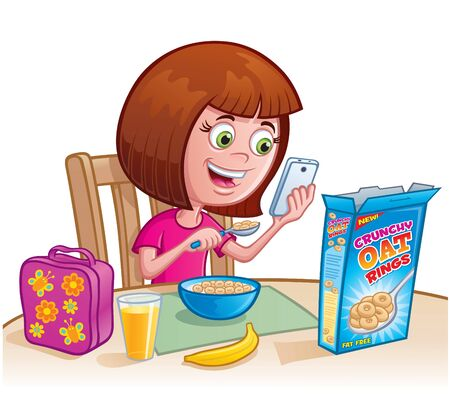 Girl Eating Cereal Stock Vector - 82670611