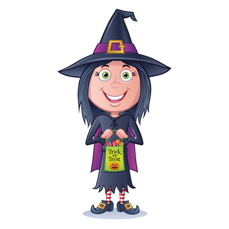 Girl Witch Trick or Treater illustration.