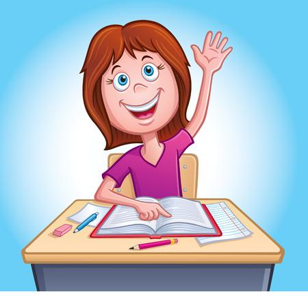 Girl Raising Hand In Class Stock Vector - 85188954