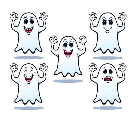 Five Halloween Ghosts Illustration