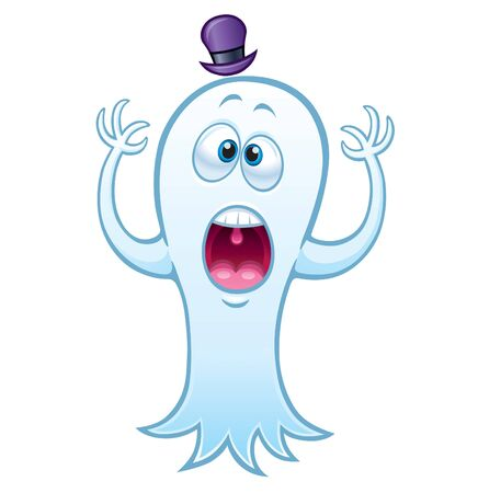 Surprised Ghost with Hat on white background.