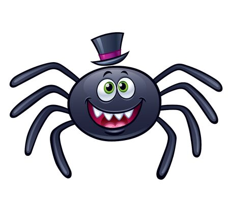A smiling spider with top hat on white background.