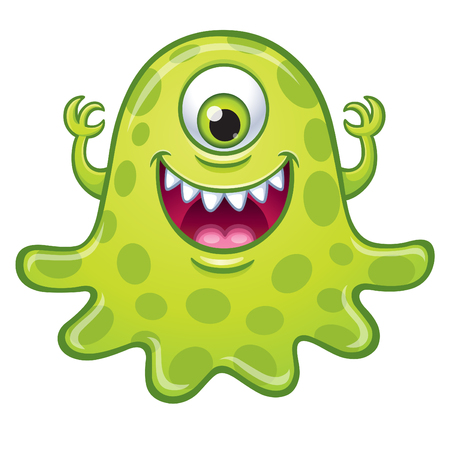 Green one eyed monster on white background. Illustration