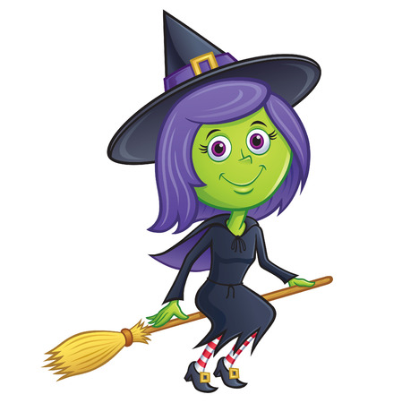 Cute Witch Riding Her Broom
