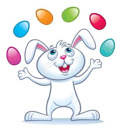 Bunny jongleren met paaseieren.