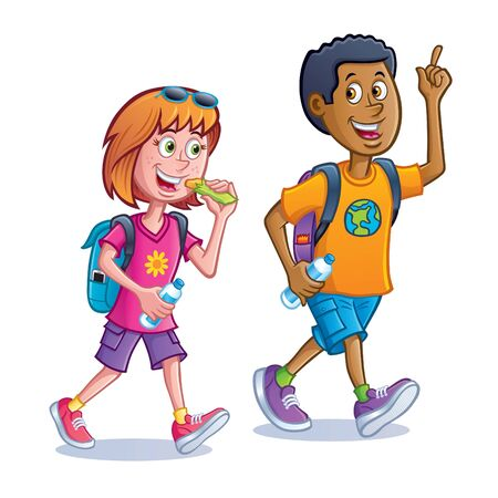 Girl and Boy Walking with Backpacks vector illustration graphic design