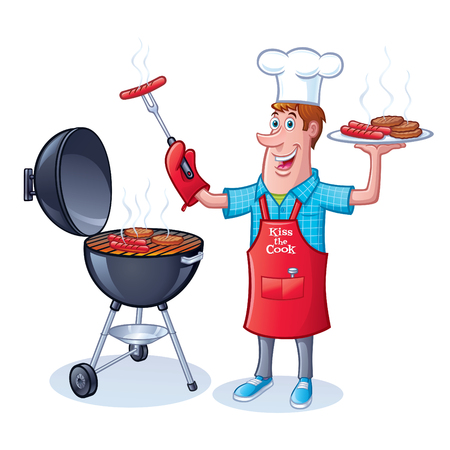 Guy Barbecuing Hamburgers and Hot Dogs